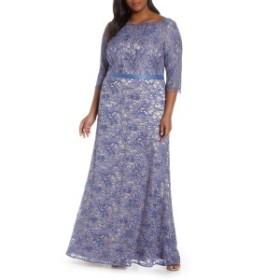 ジェイエスコレクションズ レディース ワンピース トップス JS Collections Bateau Neck Lace Gown (Plus Size) Periwinkle Nude