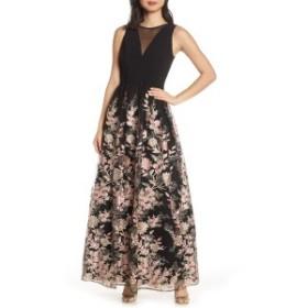モーガン レディース ワンピース トップス Morgan & Co. Embroidered Mesh Evening Dress Black/ Pink