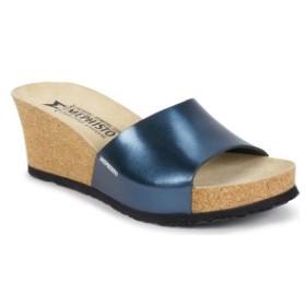 メフィスト レディース サンダル シューズ Mephisto Lise Platform Wedge Sandal (Women) Blue Leather