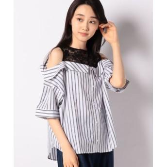 (WEGO/ウィゴー)WEGO/オープンショルダードッキングシャツ/レディース ホワイト系