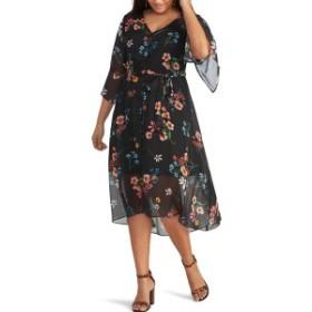 ライチェルレイチェルロイ レディース ワンピース トップス RACHEL Rachel Roy Rosita Chiffon Overlay Dress (Plus Size) Black Mystery