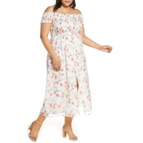 セセ レディース ワンピース トップス CeCe Smocked Off the Shoulder Midi Dress (Plus Size) Soft Ecru
