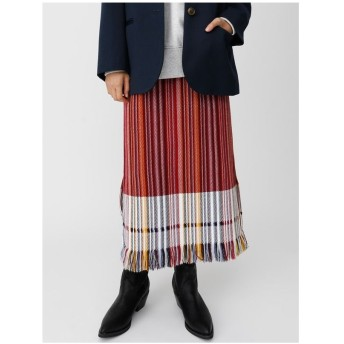 moussy STRIPEDフリンジスカート 柄レッド