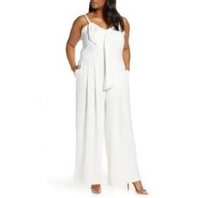 エロクイ レディース ワンピース トップス ELOQUII Tie Front Wide Leg Jumpsuit (Plus Size) White