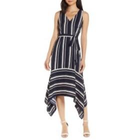 ヴィンスカムート レディース ワンピース トップス Vince Camuto Handkerchief Hem Stripe Crepe Dress Navy/ Multi