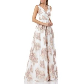カルメンマークバルボ レディース ワンピース トップス Carmen Marc Valvo Infusion Organza Pleated Gown Blush/ Ivory