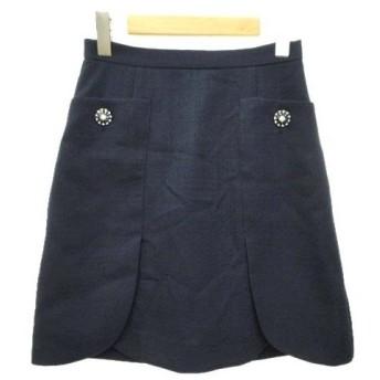 未使用品 プロポーション ボディドレッシング PROPORTION BODY DRESSING スカート ひざ丈 チューリップ 無地 ビジューボタン 3 紺 ネイビー B08910 レディース