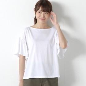 【接触冷感】フレア袖で二の腕カバー◎やわらか綿素材フレア袖Tシャツ