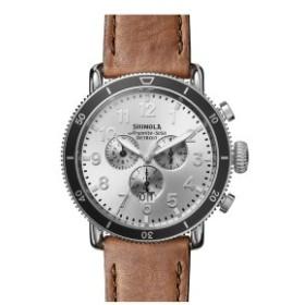シャイノーラ メンズ 腕時計 アクセサリー Shinola The Runwell Sport Chronograph Watch, 48mm British Tan/ Silver Sunray