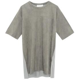 Re: EDIT スエードタッチ異素材切替えTシャツ グレー