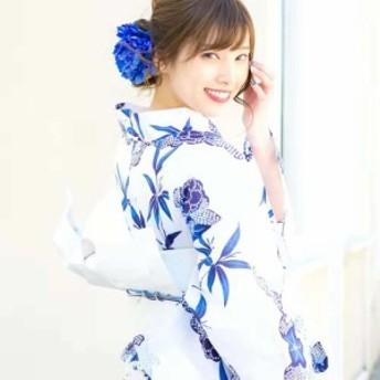 レディース 浴衣 セット高級浴衣4点フルセット(ゆかた・つくり帯・下駄・腰ひも)夏の露調べ