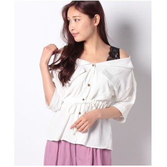 DAISY MERRY 肩レースレイヤードシャツ(オフホワイト)【返品不可商品】