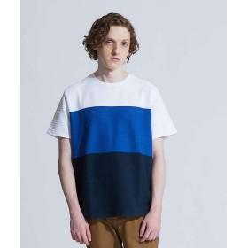 アバハウス 3段配色JQDボーダー半袖Tシャツ メンズ ホワイト 46 【ABAHOUSE】