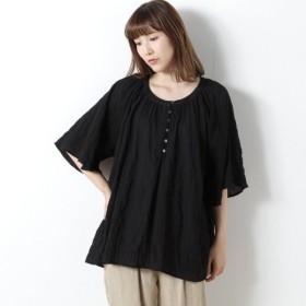 シャツ ブラウス レディース 涼しい楊柳素材のシャーリングブラウス 「ブラック」