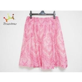 アマカ AMACA スカート サイズ40 M レディース 美品 ピンク シルク混/プリーツ 新着 20190612