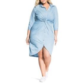 シティーシック レディース ワンピース トップス City Chic Twist Chambray Shirtdress (Plus Size) Chambray