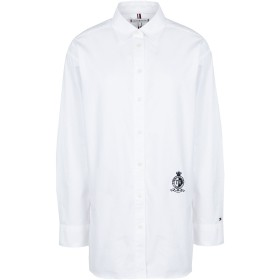 《期間限定セール開催中!》TOMMY HILFIGER レディース シャツ ホワイト 4 コットン 100% FAWN BOYFRIEND SHIRT