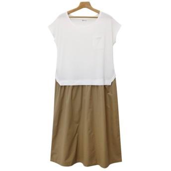 アンドミー and Me J-1/Tシャツワンピースツイルロングスカートゆったりカットソー (オフホワイト×ベージュ)