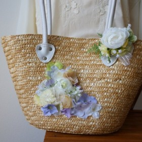 【Creema限定・夏の袋】夏の籠バックと白いお花のコサージュ