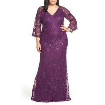 ジェイエスコレクションズ レディース ワンピース トップス JS Collections Bell Sleeve Bead & Soutache Gown (Plus Size) Dark Violet