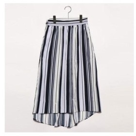 グリーンパークスアウトレット Green Parks outlet マルチストライプテールカットスカート (ネイビー)