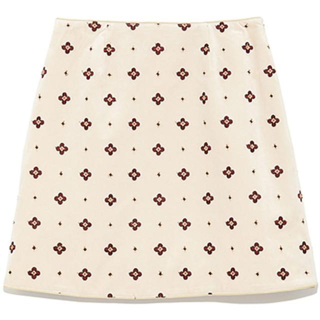 リリーブラウン Lily Brown 小紋刺繍台形スカート (ベージュ)