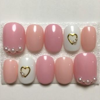 ピンク/パール/ハート/ネイル