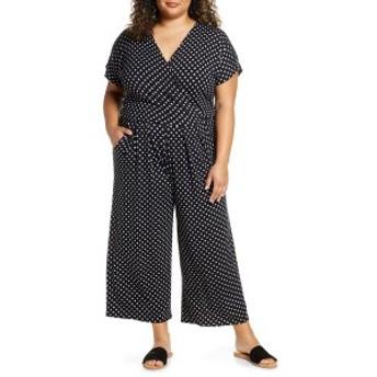 ロベアペラ レディース ワンピース トップス Loveappella Wrap Wide Leg Cropped Jumpsuit (Plus Size) Black/ Ivory