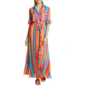 オールシングスモチ レディース ワンピース トップス All Things Mochi Leilani Stripe & Floral Linen Maxi Shirtdress Rainbow