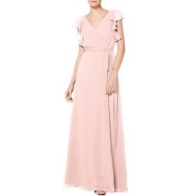 レブコフ レディース ワンピース トップス #Levkoff Ruffle Sleeve Chiffon Wrap Evening Dress Petal Pink