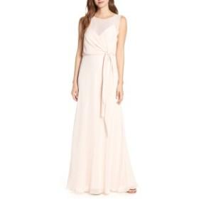 ジェニーヨー レディース ワンピース トップス Jenny Yoo Chiffon Overlay Evening Dress Soft Blush