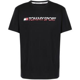 《期間限定セール開催中!》TOMMY SPORT メンズ T シャツ ブラック M コットン 61% / ポリエステル 39% T-SHIRT LOGO CHEST