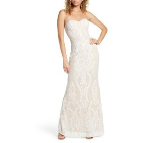 ルルズ レディース ワンピース トップス Lulus You Belong With Me Strapless Embroidered Mesh Evening Gown White/ Nude