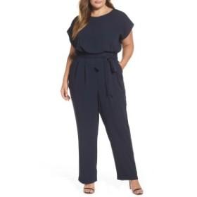 エリザジェイ レディース ワンピース トップス Eliza J Tie Waist Crepe Wide Leg Jumpsuit (Plus Size) Navy
