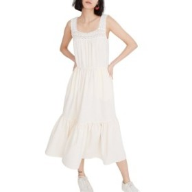 メイドウェル レディース ワンピース トップス Madewell Crochet Strap Tiered Midi Dress Pearl Ivory