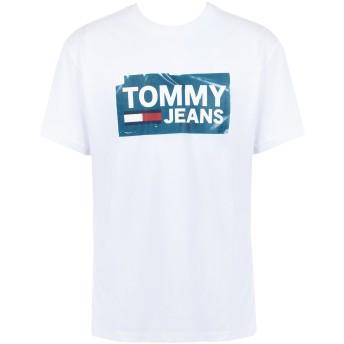 《期間限定 セール開催中》TOMMY JEANS メンズ T シャツ ホワイト S コットン BCI 100% TJM SCRATCHED BOX TE