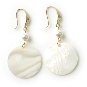 クリームドット 優しい光沢感とカラーリングの、フラワーシェルピアス レディース ホワイト系1 ワンサイズ 【cream dot】