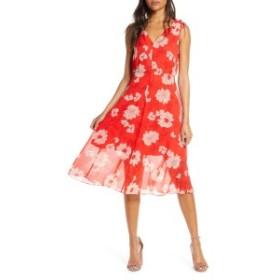 ヴィンスカムート レディース ワンピース トップス Vince Camuto Floral Print Tie Shoulder Chiffon Dress Red