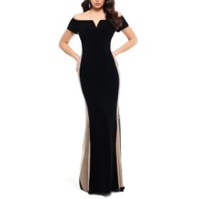 エスケープ レディース ワンピース トップス Xscape Caviar Bead Detail Off the Shoulder Gown Black/ Nude/ Silver