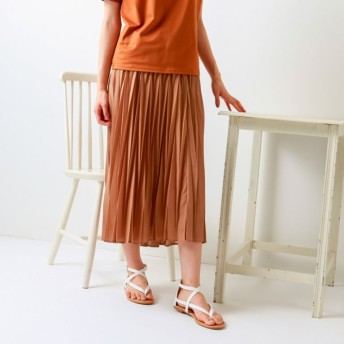 SALE【トランスワーク(TRANS WORK)】 【ウォッシャブル】幾何プリーツスカート モカ