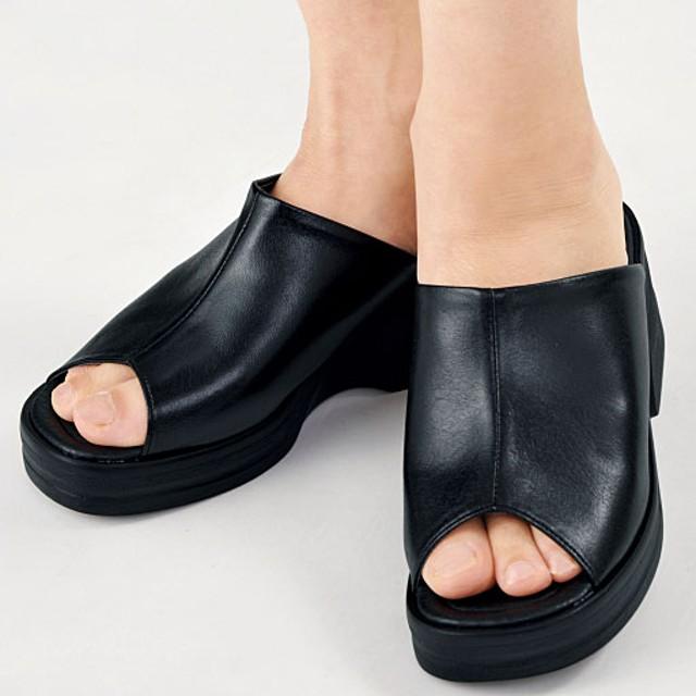 疲れにくい足長サンダル - セシール ■カラー:ブラックA ■サイズ:L(24-24.5cm),LL(24.5-25cm),SS(21.5-22cm)