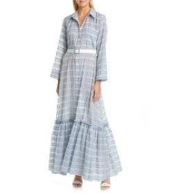 ステゥド レディース ワンピース トップス STAUD Rose Plaid Belted Maxi Dress Coastal Blue Plaid