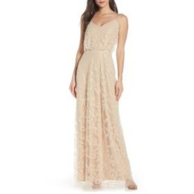 ワイフ レディース ワンピース トップス WAYF The Savannah Blouson Beaded Mesh Evening Dress Pearl Petal Embroidery