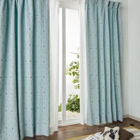 カーテン カーテン ジャガード織でデザインしたランダムドットのカーテン 「ブルー」