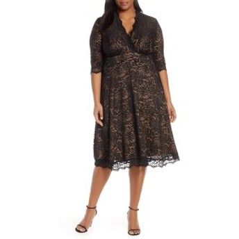 キヨナ レディース ワンピース トップス Kiyonna Mademoiselle Lace A-Line Dress (Plus Size) Black Lace / Caramel Lining
