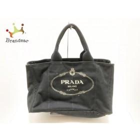 プラダ PRADA トートバッグ CANAPA 黒×ベージュ キャンバス 新着 20190612