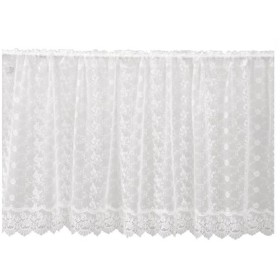 川島織物セルコン チュールエンブロイダリー カフェカーテン 138×60cm DW1304 W ホワイト