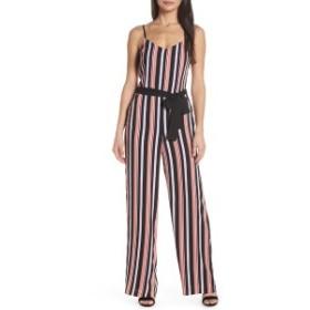 フォレストリリィ レディース ワンピース トップス Forest Lily Stripe Jumpsuit Black Combo