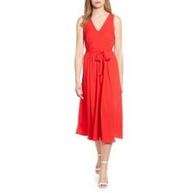 ボベー レディース ワンピース トップス Bobeau Riley V-Neck Pleat Dress Aurora/ Red