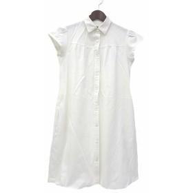 【中古】URBAN RESEARCH アーバンリサーチ シンプル 半袖 ギャザー デザイン シャツ ワンピース F ホワイト レディース
